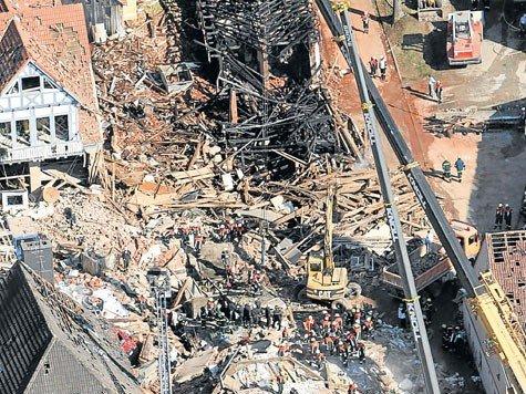Le centre ville de Lehrberg après l'explosion de 2006