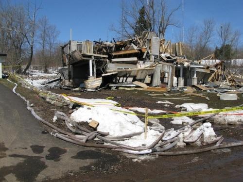Maison détruite suite à un accident sur une conduite de gaz souterraine