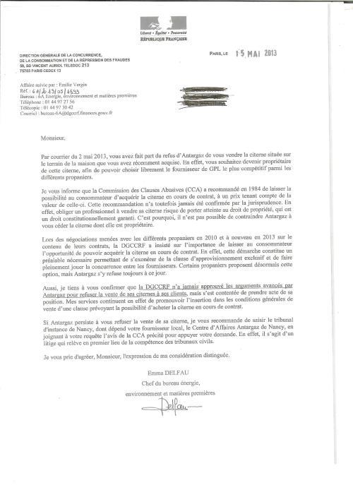 Lettre DGCCRF Antargaz